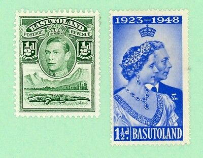 Basutoland 2 stamps , SC 18, 39, KGVI, Silver Wedding Issue, 1938, 48,  MPH