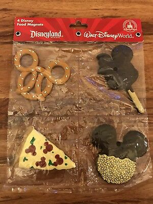 Disney Parks 4 Food Magnets Mickey Mouse Ears Pizza Pretzel Ice Cream - NEW