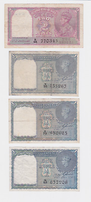 India,british India ,govt. Of India  1937-40 , 2,1,1,1, Rupee ,see Scan Images