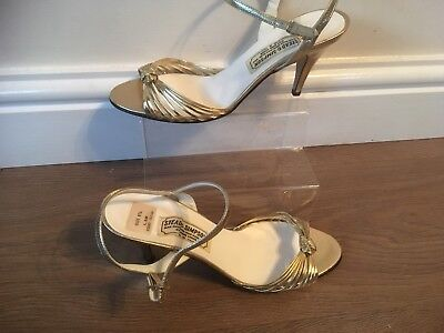 1940's -50's Vintage Gold Art Deco Heels, Stead & Simpson Size 5.5 Immaculate