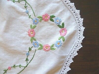 Vintage Hand Embroidered Large Table Runner Floral White Hand Crocheted Edge