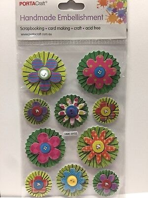 New - Flowers - Handmade Embellishments - 10 Pack - Card Making - Acid Free