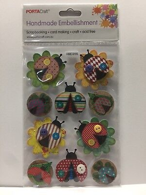 New - Beetles/bugs - Handmade Embellishments - 10 Pack - Card Making - Acid Free