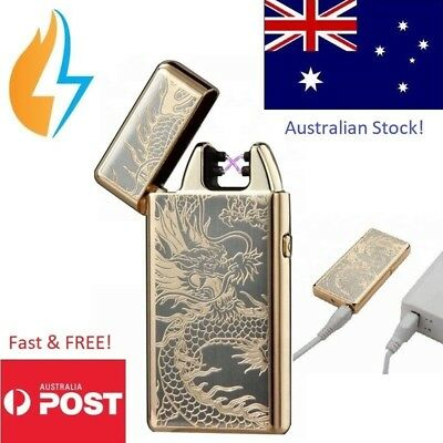 AU Lighter Electric Rechargeable Arc Usb Windproof Flameless (Gold Dragon)
