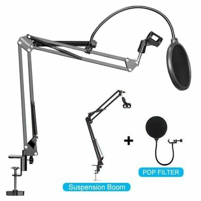3IN1 Microphone Arm Stand Boom Mic Holder Mount Pop Filter Desk Suspension UK/EU