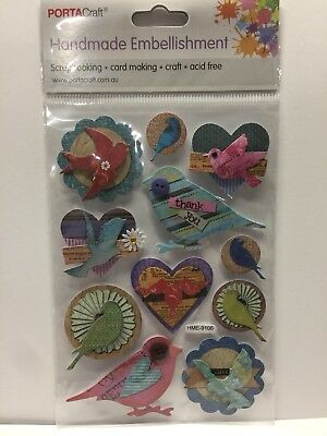 New - Birds - Handmade Embellishments - 11 Pack - Card Making - Acid Free