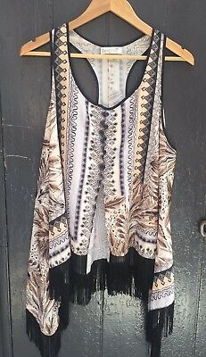 Tribal Print Racer Back Top With Fringed Hem By Sunny Girl. Sz XL