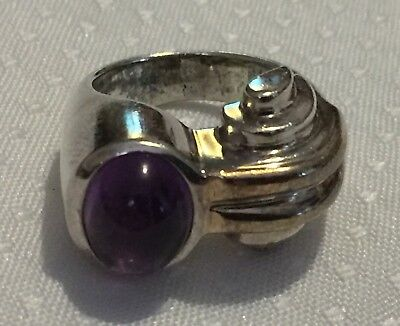 14k SOLID GOLD & STERLING SILVER MODERNIST AMETHYST RING sz4.5 ND Chapal-Zenray