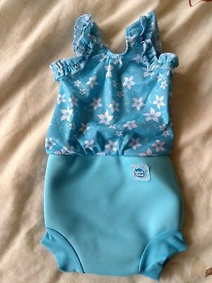 Small Splash About Happy Nappy Blue Blossom Baby Swimming Costume 0-4 months