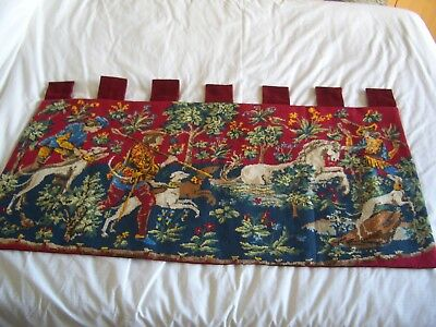 medieval tapestry, hanging tabs; colourful french unicorn hunting scene. 52x103