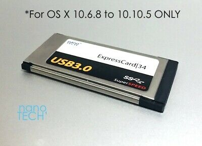 2 Port Super-Speed USB 3.0 ExpressCard 34 Adapter For Apple MacBook Pro *5Gbps