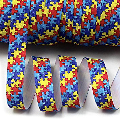 "1m/5m Autism Awareness Puzzle FOE 5/8"" Fold Over Elastic Head Band Hair Ties"