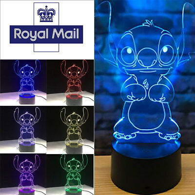 Night Light 7 Color Change LED Desk Lamp Touch Room Decor Gift 3D Cartoon Stitch
