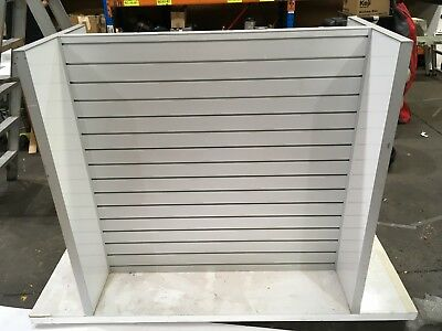 White Retail Stand/Shelves With Slots On Wheels - As Seen