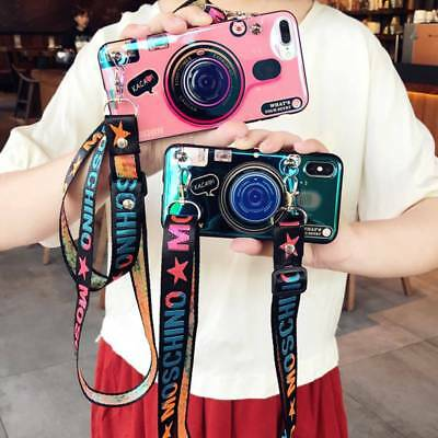 Fashion Airbag Camera Holder Stand Strap Case Cover for iPhone X 7 8 Plus XS Max
