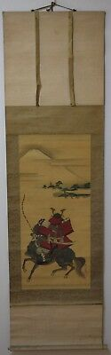 Japanese Antique Hanging Scroll KAKEJIKU Fujiyama Samurai Armor Painting Silk