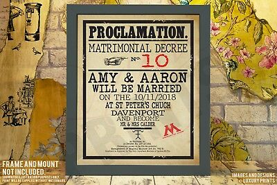 Personalised Harry Potter Wedding Proclamation Gift Present Canvas Prop Hogwarts