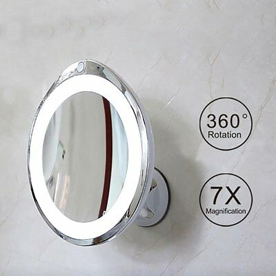 LED Lighted Wall Mount Bathroom Shaving Makeup Cosmetic Mirror 7X x10 Magnifying