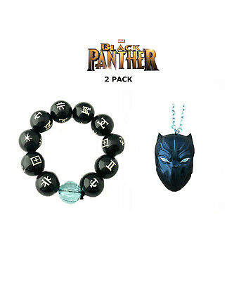 New 2018 Movie Black Panther Wakanda Cosplay 2 Pack Bracelet Necklace Gift Set