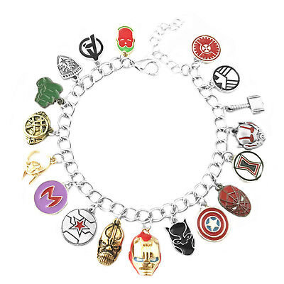 Marvel Comics Infinity War (18 Themed Charms) Assorted Metal Charm Bracelet