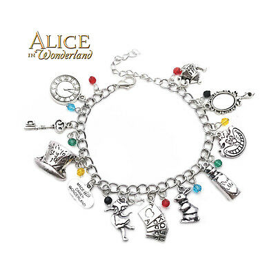Disney's Alice in Wonderland (11 Themed Charms) Assorted Metal Charm Bracelet
