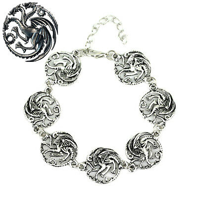 Game of Thrones Targaryen (7 Themed Charms) Assorted Metal Charm Bracelet