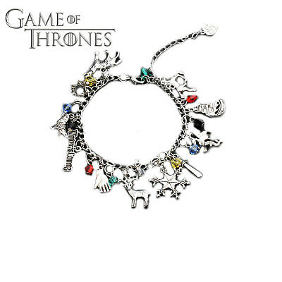 Game of Thrones (10 Themed Charms) Assorted Metal Charm Bracelet
