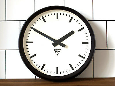 14.6 inch old Pragotron wall clock - Factory School Railway - vintage industrial