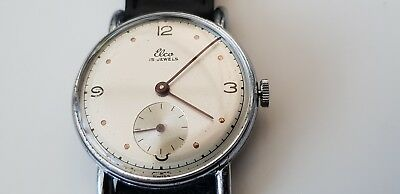 Vintage Elco (Swiss made) men's wrist watch with second hand dial