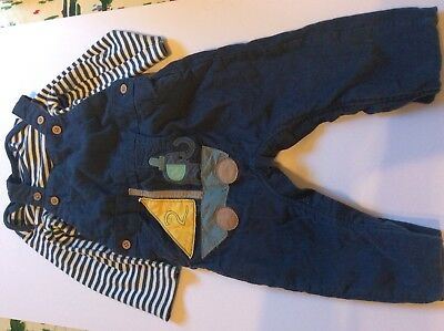 M&s Corduroy Overalls Set With Blue And White Long Sleeve Vest Boy 9 12 Months