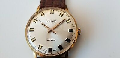 Vintage Carronade Incabloc Swiss made 17 jewel men's wrist watch