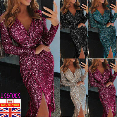 UK Womens Glitter Split Midi Dress Ladies V Neck Sparkle Everning Party Clubwear