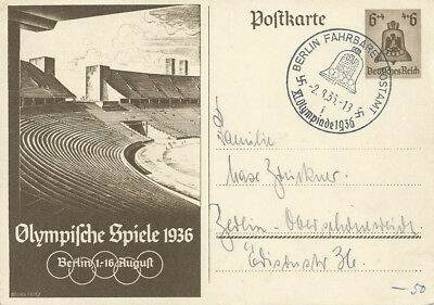 DR  Postkarte mit SST Berlin fahrbares Postamt  Olympiade 1936