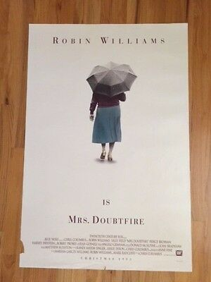"Mrs Doubtfire ORIGINAL MOVIE POSTER  1993 Robin Williams 27"" x 40"" Double sided"