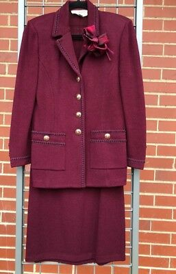 St. John Collection by Marie Gray Size 2 burgundy skirt suit, gold buttons