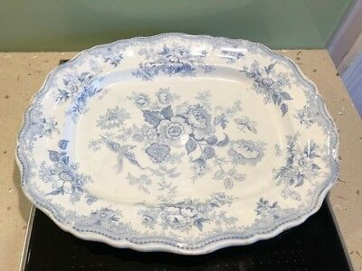 Vintage Blue & White WEDGWOOD & Co ASIATIC PHEASANT Serving Plate Charger