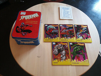 Box Embossed Metal Collector Card Spider-Man + set of 5 Trading Cards
