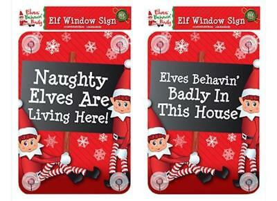 Elf Naughty Elves Are Living Here Window Stickers On Shelf