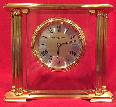 613-627 ATHENS, A BRUSHED SOLID BRASS  HOWARD MILLER TABLE/ MANTLE CLOCK, Nice