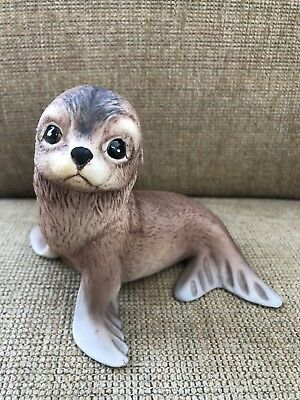 Signed Vtg Akiku Seal Pup Porcelain Statue Figure Roger J. Brown 1978 Sea Lion