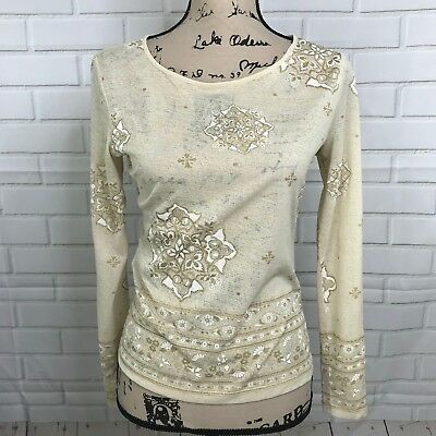 New York Company Gold Blouse Floral Cream Metallic Sheer Women S