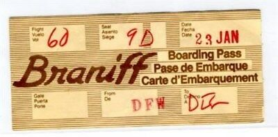 Braniff International Airlines Boarding Pass 1970's Unusual