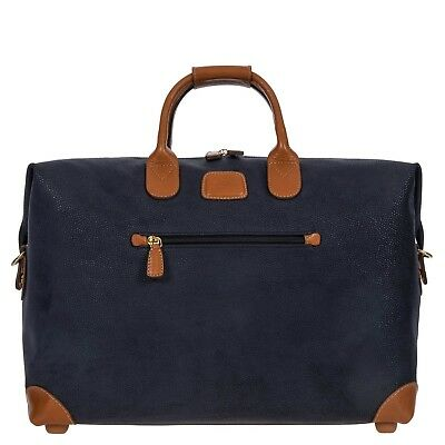 Bric's Italy Duffle Weekend bag; PVC suede and leather Blue MINT CONDITIONS