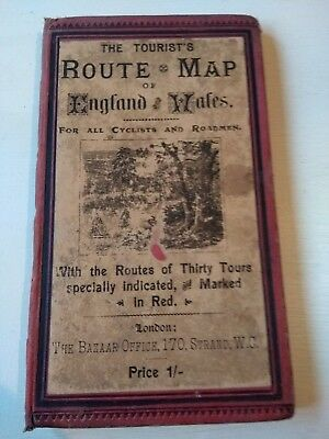Antique Map ENGLAND & WALES Cyclists & Roadmen BAZAAR OFFICE Ads c.1890 Cloth