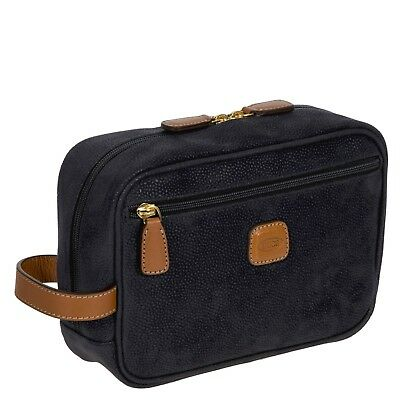 Bric's Italy LIFE Toiletry Bag, PVC suede and Leather Blue MINT CONDITIONS