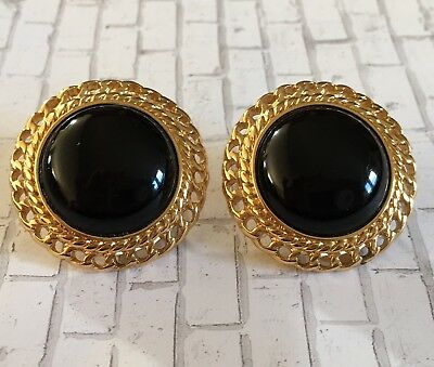 Vintage Monet Black Cabochon Gold Tone Round  Clip On Earrings Classic Style