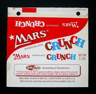 MARS CHOCOLATE CRUNCH - 1960's MARS / M&M U.S.A. Chocolate Candy Bar Wrapper