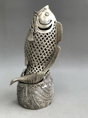 Chinese ancient Tibet silver censer manual sculpture of the fish statue