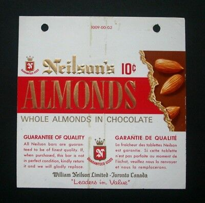 NEILSON'S ALMOND 10c - 1960's NEILSON'S CANADA Chocolate Candy Bar Wrapper