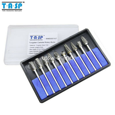 10x Tungsten Carbide Rotary Burrs Dremel Accessories for Rotary Tools